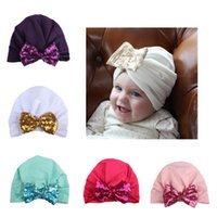 Wholesale Big Head Bows - New Baby Hats Big Sequin bow Caps Kids Turban Knot Elastic Caps Head Wraps India Bow Hats Kids Children Headwear Hair Accessories BH67