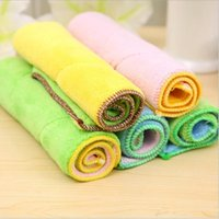 Wholesale Microfibre Glass Cloths - Dish Towel Microfibre Cleaning Soft Double-sided Absorbent Non-stick oil Wash Bowl Towel kitchen Duster Cleaning Cloth Free Shipping