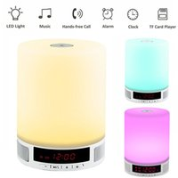 будильник для док-станции оптовых-Wholesale- Touching Romantic Colorful lighting Bluetooth Speaker, Touch Dimming Alarm clock Lamp Music Player phone answer for desk light