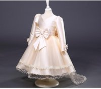 UK long sleeves wedding dress princess - long sleeve communion dresses bow flower girls dresses for party and wedding customized dress to the prom for girls