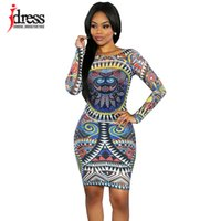 Wholesale Cheap Sexy Bodycon Midi Dresses - Wholesale- IDress Sexy Mesh African Print Dresses Autumn Winter Tenue Africaine Bandage Bodycon Midi Dress Long Sleeve Cheap Clothes China