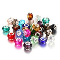 contas de cristal venda por atacado-Mixcolor Angular Face Rosa Grânulos De Vidro De Cristal encantos Fit Charme Europeu Europeu DIY Luxuoso Mulheres Jóias PulseiraColar