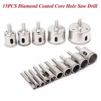 Wholesale Hole Saw Core Drill - 15pcs Diamond Coated Core Tool Drill Bit Hole Saw Set For Glass Ceramic Marble 6mm-50mm Kit