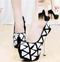 Wholesale Dressing E - Wholesale New Arrival Hot Sale Specials Sweet Girl Sexy Noble Nightclub Leather Grid Mix Color Platform Party Heels Single Shoes EU34-42