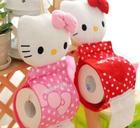 Wholesale Toilet Paper Holder Container - Wholesale- Kawaii 2Colors - Bowknot 31*13CM Hello Kitty Home & Bathroom Tissue BAG Case Container Roll Paper Napkin Papers Holder BOX Case