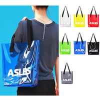 Wholesale Transparent Tote Bags Wholesale - Transparent PVC Shoulderbag Summer Cool Girls Jelly Handbag Tote Letter Print Shoulder Bag Women Shopping Bags Beach Satche YYA189