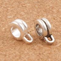 ingrosso braccialetto del filo dei branelli diy-Distanziali Connettore Twist Wire Bail Beads 2 Colori 120 pz / lotto 12X22mm Argento Antico Adatto Europeo Braccialetto di Fascino Gioielli FAI DA TE L693
