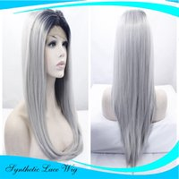 pelo largo y liso plateado al por mayor-Silk Straight Long Black Roots Silver Grey Ombre Pelucas sintéticas del frente del cordón del pelo