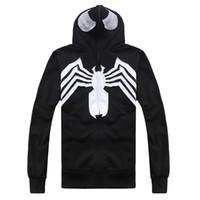 Wholesale Square Mask - Wholesale-geek 2016 new flood of anime spider venom fleece boutique black hooded zipper masked men of fleece