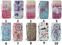 Wholesale Iphone Coloured Wallet Cover - Flip Wallet Leather Cover Coloured Drawing Printing Flower Case with Lanyard for Iphone 5s 6 6s plus 7 7 plus Samsung S6 S7 S8 S8 Plus