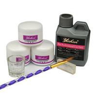 Wholesale 3d Acrylic Liquid - Wholesale- Acrylic Powder Nail Art Kit 120ml Acrylic Liquid Tips Sable Brush 3D Silicon Mold Glass Cup Dappen Dish Manicure Set for Salon