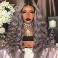 Wholesale wig light blue wavy - Hotselling Black Grey Ombre Lace Front Wig Synthetic Glueless Heat Resistant Long Wavy Wigs For African American Women