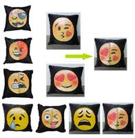 ingrosso auto due colori-40 * 40 cm paillettes emoji federa bicolore espressione del viso coperture del cuscino casa divano auto arredamento cuscino divano decor