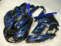 carenados zx14 al por mayor-Carrocería ZZ-R1400 2009 Kits de carenado para Kawasaki Zx14r 10 11 Black Blue Flame Plastic Fairings Zx14 Zx-14r 2011 2006 - 2011