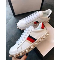 Wholesale White Ladies Model - Top quality sneakers luxury Women Shoes woman Casual Shoes Genuine Leather Brand lady shoe 1 Color Brand woman selling Model 118838024