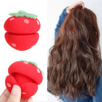 Wholesale Hair Roller Prices - 2017 6Pcs  set Foam hair Rollers Magical cute Strawberry Sponge Ball for Hair Curling Best Price