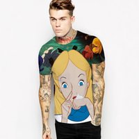 Wholesale T Sweatshirts - Men T Shirt 2017 Fashion new Mens street European and American style pullover 3D Alice in wonderland cartoon printed sweatshirt slim T-shirt