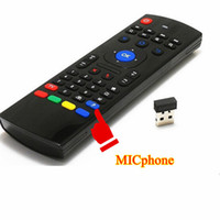Wholesale Intelligent Pc - MX3 Fly Air Mouse With Mic Intelligent 2.4G Remote Control Fly Air Mouse MX3 Wireless Keyboard For TV BOX PC HTPC IPTV