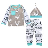 Wholesale Girls Deer T Shirt - INS Newborn Baby Clothes Boys Girls Cotton Deer Printed Toddler Infant Casual Long Sleeve T-shirt Pants Hat Children Set Kids Clothing 036