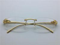 Wholesale Leopard Frame Glasses Optical - luxury brand glasses Prescription T8200879 rimless gold frame leopard animal legs optical for men design clear glass