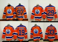 Wholesale 2017 Mens Edmonton Oilers Connor Mcdavid Leon Draisaitl Patrick Maroon Orange Alternate Hockey Jerseys Jersey Stitched
