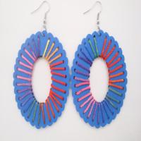 Wholesale Oval Colored Earrings - Women Charming Fresh Blue Wood Hollow Big Oval Drop Dangle Earrings Multi Colored Threads Chandelier Earrings