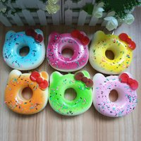 Wholesale Apples Pillows - New squishies wholesale 20pcs Super squishy jumbo kawaii rare hello kitty donut squishy with tags toy soft hand pillow