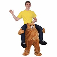 Wholesale teddy bear mascots - Teddy Bear Stuffed Mascot Ride On Costume Novelty Fancy Dress Costume For Halloween Party Ride on Costume Animal Funny Pants