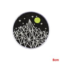 Wholesale Moon Mountains - Glow Mountain star moon Embroidered Sew Iron On Patch Badge The Dark Night