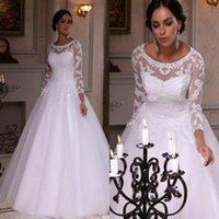 Wholesale Plus Size Aline Wedding Dresses - 2017 Vintage Modest Aline Wedding Dresses Bridal Gowns Long Sleeves Lace Applique Covered Button Sweep Train Wedding Dress Noiva