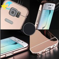 Wholesale Aluminium Bumper Metal Case - Luxury Mirror Aluminium metal Bumper Case For iPhone 5 5S 6 7 Plus 6S galaxy S3 4 5 S6 S7 edge A5 A3