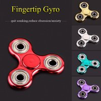 Wholesale Cheap Wholesale Puzzle - Fidget Spinners EDC Puzzle Toys Metal Spinning Electroplating Tri Spinner 5 Colors Decompression Hand Spinner Toys Gyro 2017 Hot Cheap