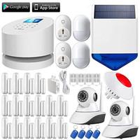 sirene für hausalarm großhandel-LS111-W2 WiFi GSM PSTN einbrecher Sicherheit hause Alarm System + Wireless wifi ip-kamera + solar outdoor strobe sirene + 16 tür selfcheck sensor