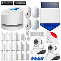 Wholesale Wireless Solar Home Security Systems - LS111- W2 WiFi GSM PSTN burglar Security home Alarm System+Wireless wifi ip camera+solar outdoor strobe siren+16 door selfcheck sensor
