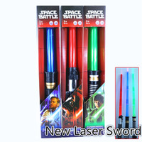 Wholesale Telescopic Swords - New free shipping laser sword Lightsaber Light Saber Telescopic Weapons laser Sword Toy with Light Cosplay Toys B1061