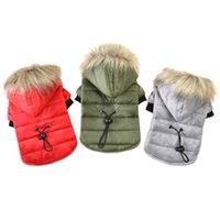 casacos para cães pequenos venda por atacado-5 Tamanho Pet Dog Coat Inverno Quente Pequeno Cão Roupas Para Chihuahua Capuz De Pele Macia Casaco Filhote de Cachorro Roupas