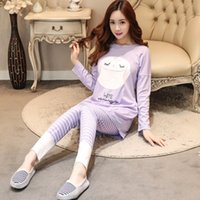 Wholesale Pajama Sets For Girls - New 2017 Spring Autumn Women's Long Sleeve Pajama Sets Women Sleepwear Pyjamas for woman casual sleep lounge girls pijama