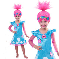 Wholesale Character Fancy Dress Costumes - Trolls Fancy Dress Girls Trolls DressKids Girl Poppy Troll Party Cartoon Costume 4-12T Child Gift Girls Trolls Poppy Fancy Dress Costume