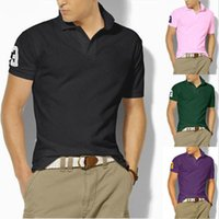 Wholesale Organic Mens Shirts - 2017 hot sale S-6XL Polo Shirt Men Big small Horse crocodile tommy Solid Short Sleeve Summer Casual Camisas Polo Mens Free Shipping