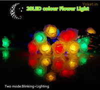 Waterproof Rose Flower LED Solar Powered String Lights para casamento Outdoor Gardens Homes 20 LED Decor Holiday Iluminação