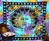 тканые гобелены оптовых-Богема Бог-Солнце Луна настенный гобелен 165X145CM дома Tapestryies украшения печатных тканая скатерть мода пляжное полотенце прикрыть