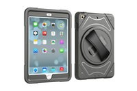 Wholesale Ipad Mini Strap - hot sale rotating adjustable leather hand strap tpu pc combo 3 in 1 shockproof kickstand hybrid case for ipad mini 4