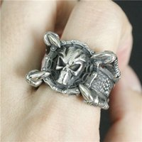 Best Quality Men's Fashion Jewelry Dinosaur Claws Skull Ring 316L en acier inoxydable Cool Ghost Silver Skeleton Ring
