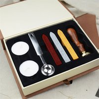 Wholesale Stamp Educational - European Retro Wooden Handle Letter Wax Seal Stamp Kit Vintage Retro Letter Envolop Wax Sealing Set with Gold Red Silver Sticks OTH647