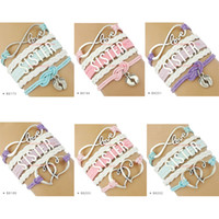 Wholesale baby foot charms - (10 pieces  lot) Infinity Love Sister Bracelet Heart To Heart Baby Feet Charm Bracelet Leather Wrap Bracelet Custom Any Themes Drop shipping
