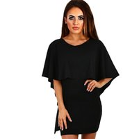 Wholesale Short Dress Shawl - S-XL Plus size women dress batwing sleeve shawl ruffle casual dress vestidos femininos blusas femininas hollow out girl party short dress