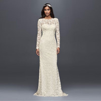 Wholesale Long Court Train Lace - NEW! Long Sleeve Lace Wedding Dress with Open Back Sexy Illusion Designer Jewel Neckline Bridal Gowns Court Train MS251176