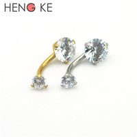 Wholesale Gold Double Rings - 18K Gold Belly Bars Body Piercing Button Ring Crystal CZ Gem 316L Stainless Steel Clear AB Double Zircon Internally Threaded