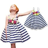 Wholesale Little Girls Princess Fancy Dress - girl kids summer dress striped 3D flower princess dress for little girl baby fancy frocks photos