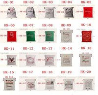 Wholesale christmas santa sacks - Christmas Gift Bags 2017 New Large Organic Heavy Canvas Bag Santa Sack Drawstring Bag With Reindeers Santa Claus Sack Bags for kids